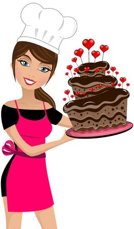 Glimlachende vrouwenchef-kok die een meerlagige chocoladetaart houdt die met geïsoleerde harten wordt verfraaid Stockfoto