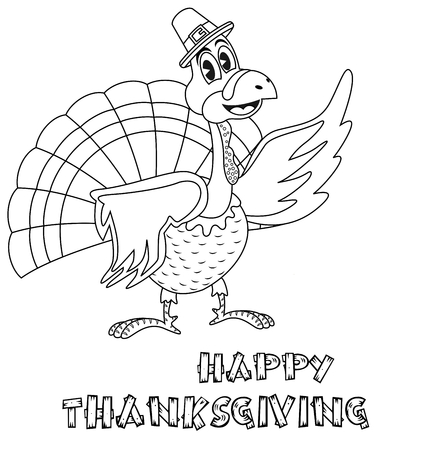 Cartoon thanksgiving turkey with pilgrim hat for coloring page book