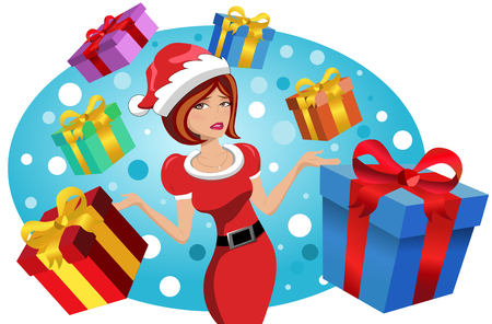 beautiful woman wearing xmas hat having trouble and stress for xmas shopping gifts isolated Illustration