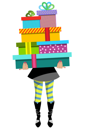 Fashion woman holding stack of gifts isolated