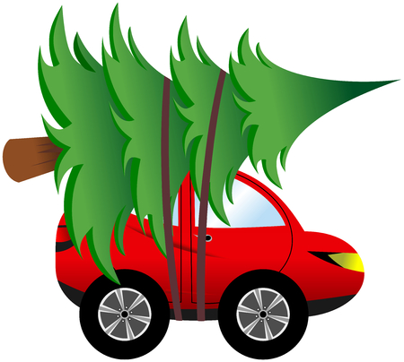Red car carrying tree isolated Illustration