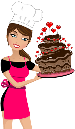 Glimlachende vrouwenchef-kok die een meerlagige chocoladetaart houdt die met geïsoleerde harten wordt verfraaid