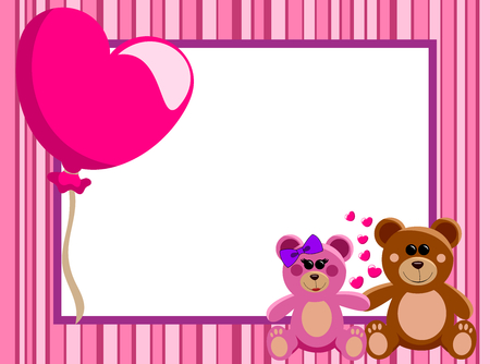 Valentine Love Frame or Border with a couple of teddy bears in love hand in hand