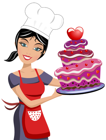 Smiling woman chef holding a multilayer chocolate cake decorated with strawberries isolated