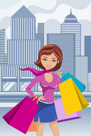 Fashion Woman Shopping Bag Bags Downtown