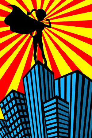 Silhouette of standing super hero sexy beautiful woman showing her muscles on top of skyscraper watching over the city Illustration