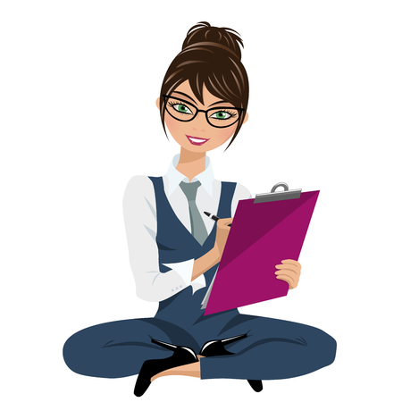 Businesswoman looking and writing on clipboard sit on floor isolated on white