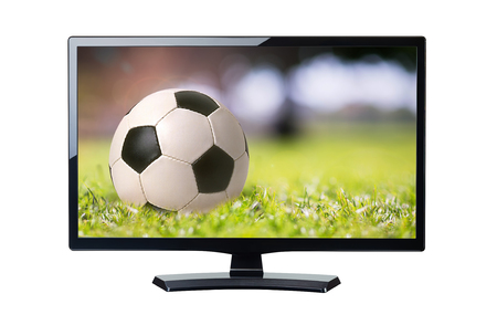 TV Soccer ball close up on the field sport background isolated on white Banco de Imagens
