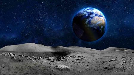 Vue de la planète Terre depuis la surface de la lune. Banque d'images