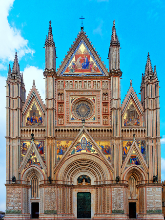 Orvieto Cathedral Facade Front Exterior view