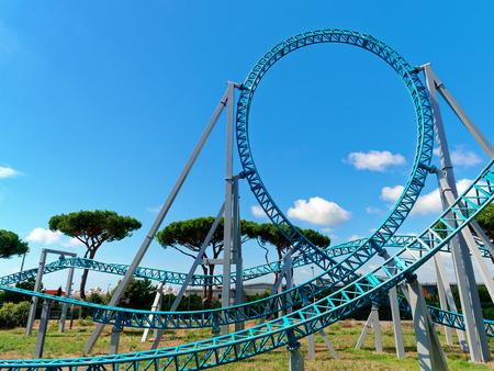Loop track rollercoaster funfair Foto de archivo
