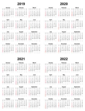 Annual plain calendar sunday first day 2022 2021 2020 2019