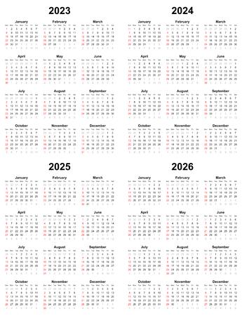 Annual plain calendar sunday first day 2023 2024 2025 2026