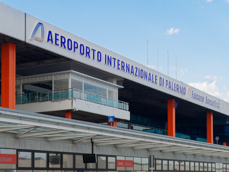 Palermo, Italy - Aug 2018: Intrnational airport of Palermo exterior view Archivio Fotografico - 114235442