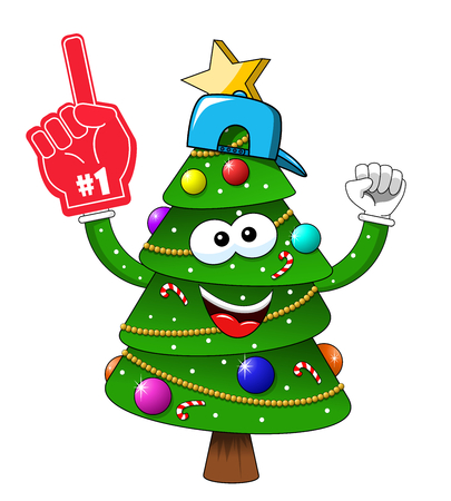 Cartoon xmas christmas tree exulting number one glove supporter fan isolated