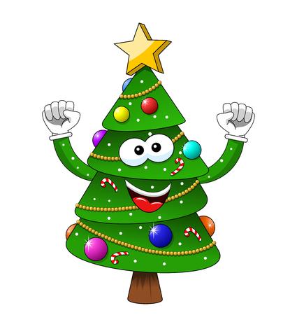 Cartoon xmas christmas tree exulting happiness isolated