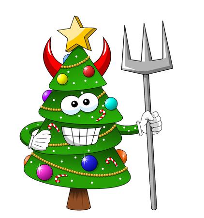 Christmas xmas tree character mascot cartoon devil trident isolated Stock Illustratie