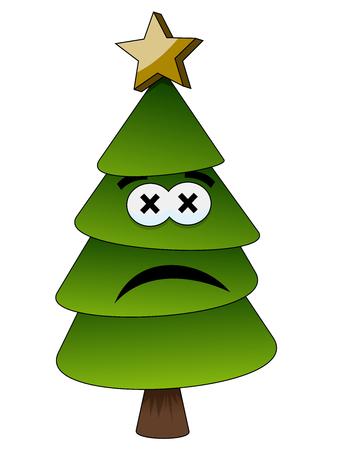 Christmas or xmas tree sad or unhappy cartoon character human isolated