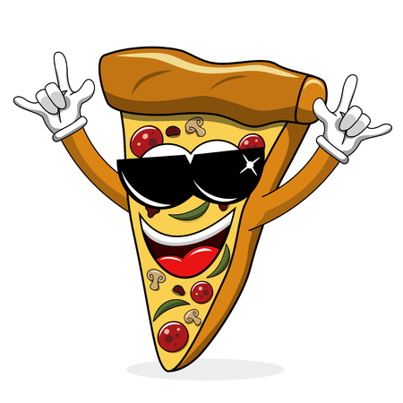 Pizza slice cartoon funny sunglasses rock isolated on white