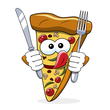 Pizza slice cartoon funny fork knife eating hungry tongue isolated on white