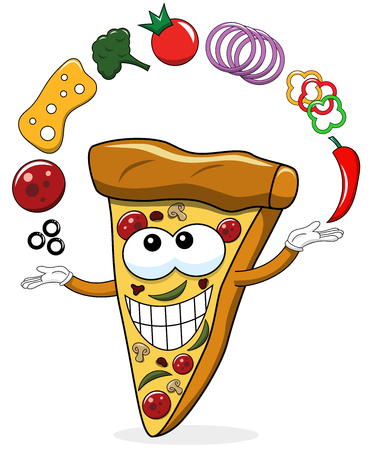 Pizza slice cartoon juggler toppings funny isolated on white