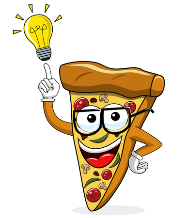 Pizza slice cartoon funny idea innovation solution isolated on white Иллюстрация