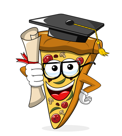 Pizza slice cartoon graduated degree funny isolated on white