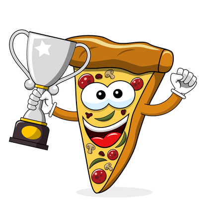 Pizza slice cartoon funny champion winner cup isolated on white