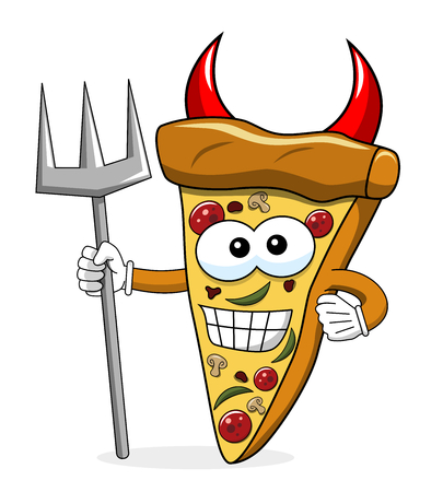 Pizza slice cartoon funny devil trident isolated on white