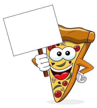 Pizza slice cartoon funny banner copyspace isolated on white Illusztráció