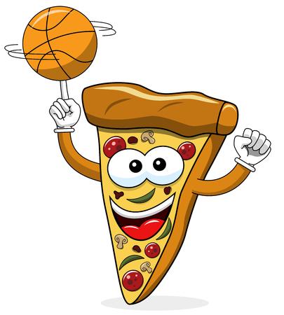 Pizza slice cartoon funny basketball isolated on white