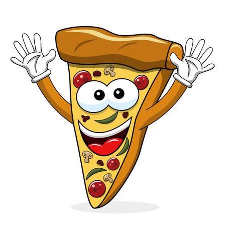 Pizza slice cartoon funny waving isolated on white