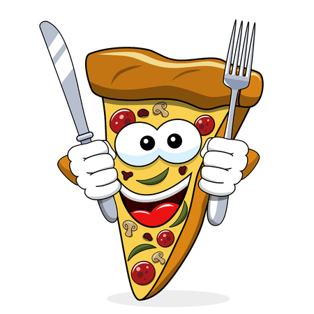 Pizza slice cartoon funny fork knife eating hungry isolated on white