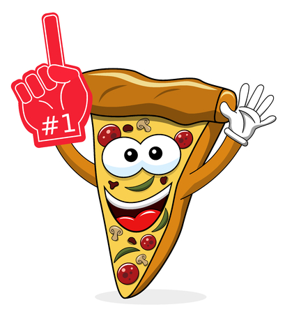 Pizza slice cartoon funny exulting number one glove supporter fan isolated on white