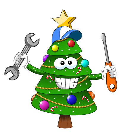 happy christmas xmas tree repariman or repair man character fixing with screwdriver and wrench isolated