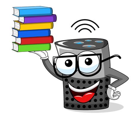 Smart speaker cartoon funny pile of books isolated on white Ilustração