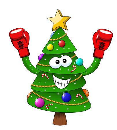 Cartoon xmas christmas tree boxer boxing gloves isolated