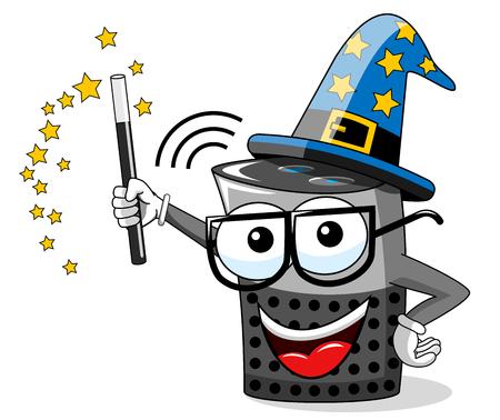Smart speaker cartoon funny wizard magic stick isolated on white Ilustração
