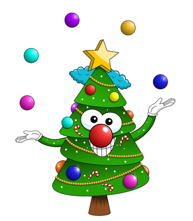 Christmas xmas tree character mascot cartoon clown juggler isolated