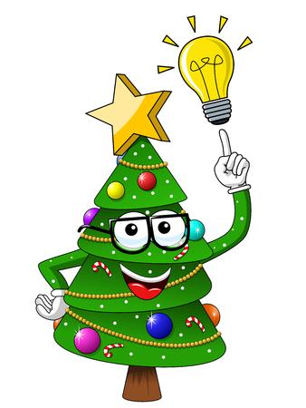 Christmas xmas tree character mascot cartoon idea isolated