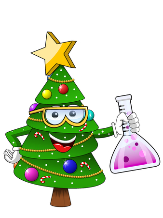 Happy Christmas or xmas character or mascot chemist isolated on white cartoon style vector symbol stock illustration web