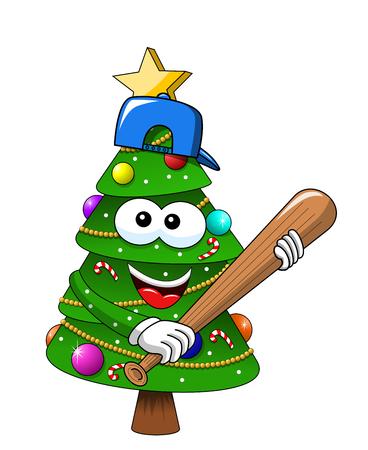 Cartoon xmas christmas tree exulting number 25 glove supporter fan isolated Illusztráció