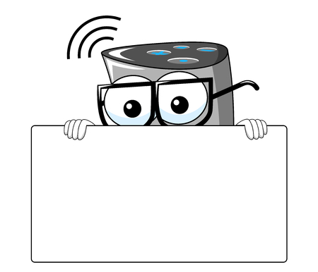 Smart speaker cartoon funny behind blank banner copy isolated on white