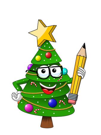Happy Christmas or xmas character or mascot holding pencil isolated on white in cartoon style vector symbol stock illustration web