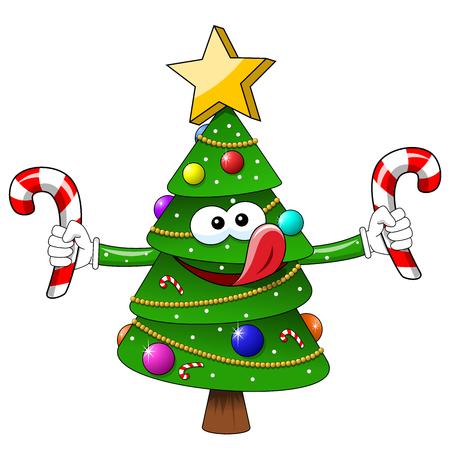 Cartoon xmas christmas tree sweets candies hungry isolated Illusztráció