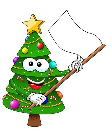 Christmas xmas tree character mascot cartoon white flag isolated