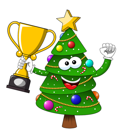 Happy Christmas or xmas character or mascot winner cup isolated on white