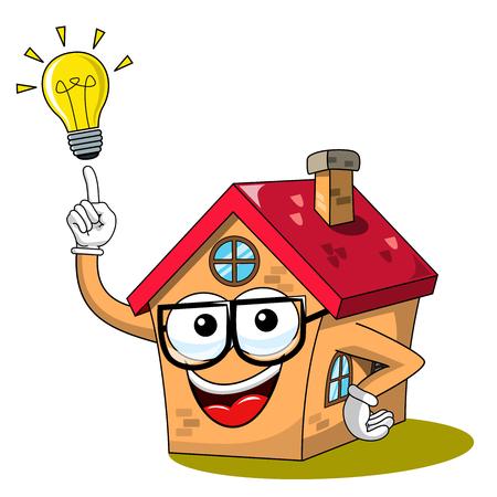 Happy Cartoon fanny house idea lightbulb isolated on white Vector Illustration
