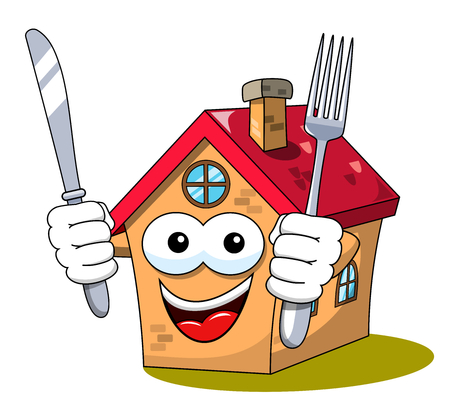 Happy Cartoon fanny house holding fork and knife isolated on white