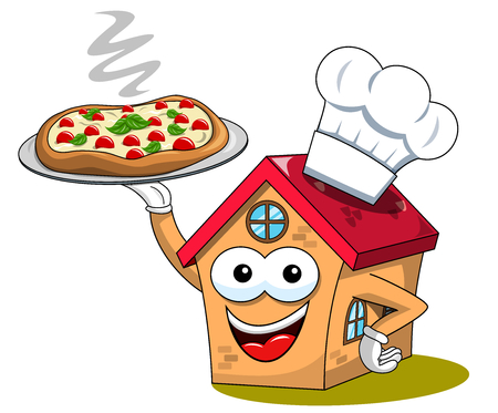 Happy house cartoon funny character cook chef pizza isolated on white Illusztráció